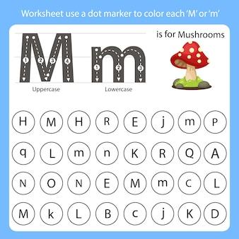 워크 시트는 점 마커를 사용하여 각 m의 색상을 지정합니다.