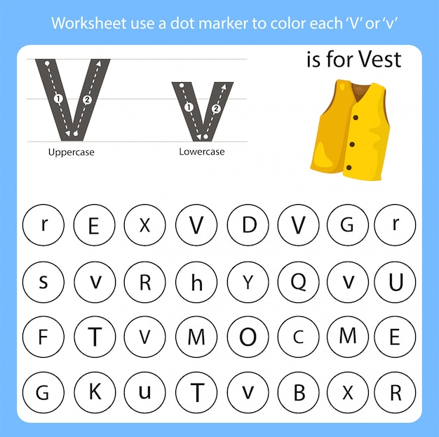 워크 시트는 점 마커를 사용하여 각 v의 색상을 지정합니다.