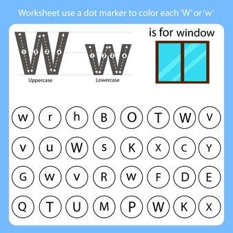 워크 시트는 점 마커를 사용하여 각 w의 색상을 지정합니다.