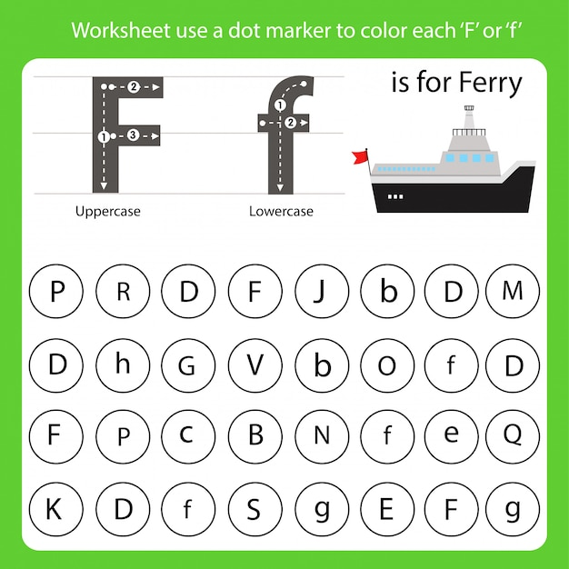 Worksheet use a dot marker to color each f
