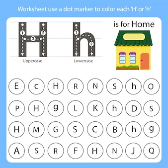 Worksheet use a dot marker to color each h
