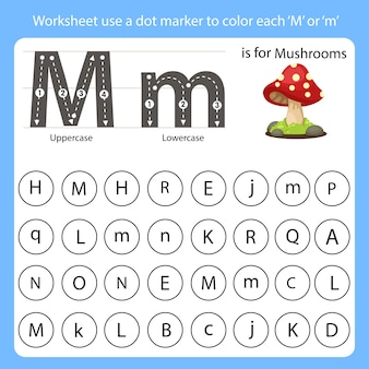 Worksheet use a dot marker to color each m