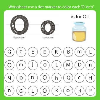 Worksheet use a dot marker to color each o
