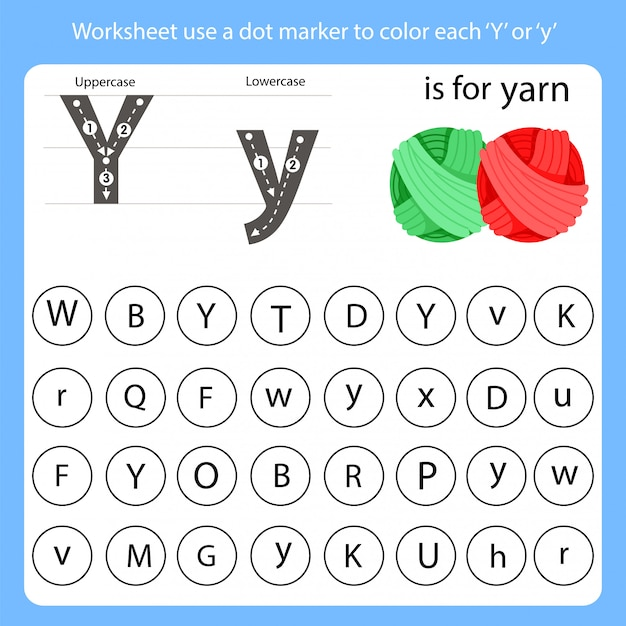 Worksheet use a dot marker to color each y