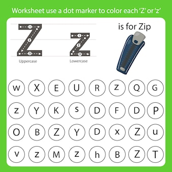 Worksheet use a dot marker to color each z