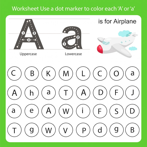 Worksheet use a dot marker to color each a