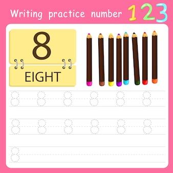 Worksheet writing practice number eight