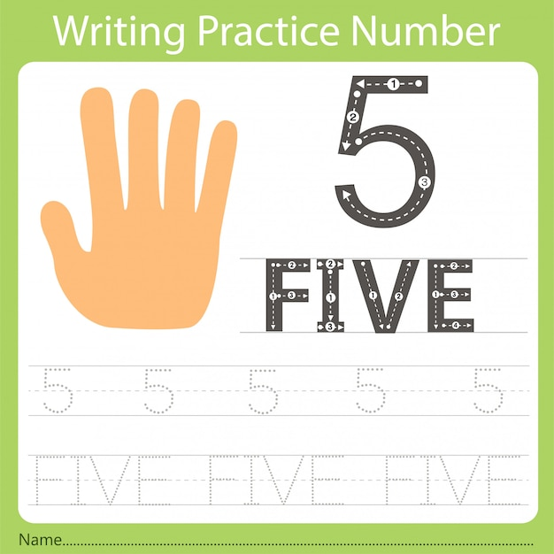 Worksheet writing practice number five