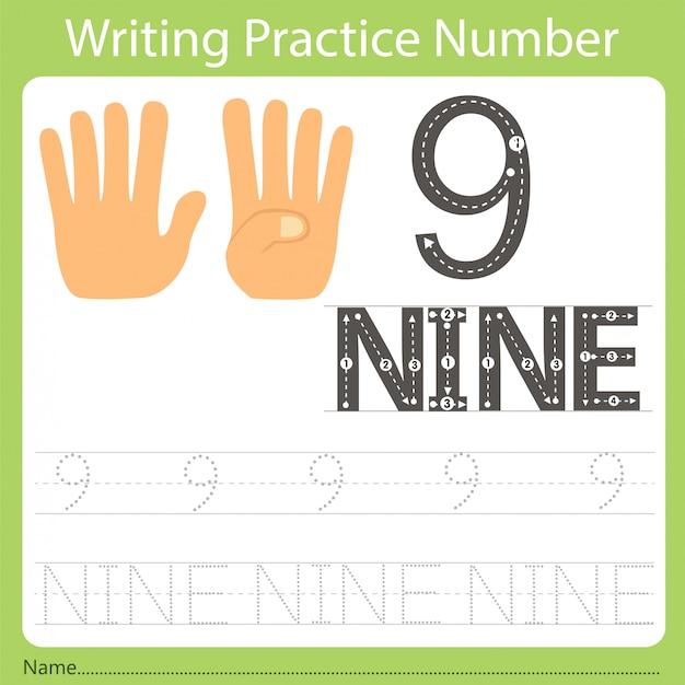 Worksheet writing practice number nine