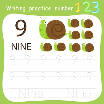 Worksheet writing practice number nine
