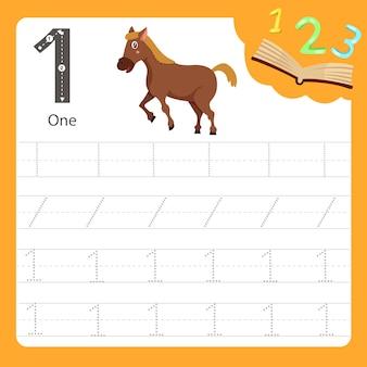 Worksheet writing practice number one animal