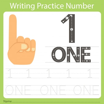 Worksheet writing practice number one
