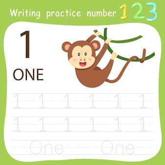 Worksheet writing practice number one