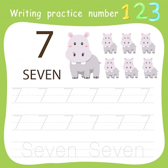 Worksheet writing practice number seven