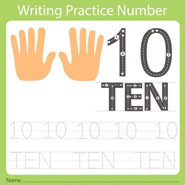 Worksheet writing practice number ten