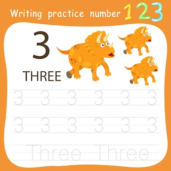 Worksheet writing practice number three