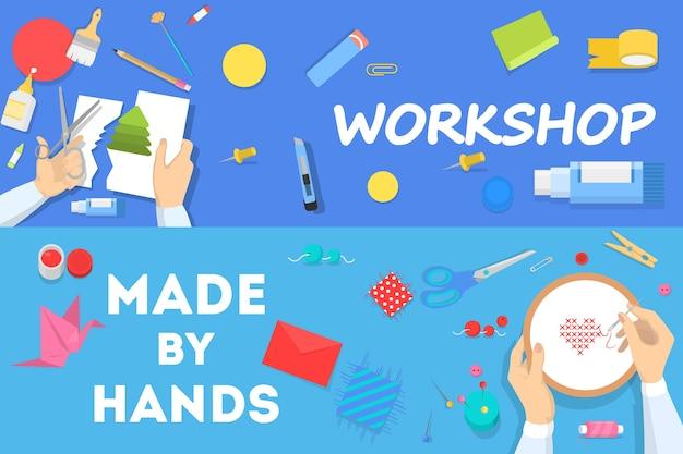 ワークショップコンセプト水平バナーセット。教育と創造性のアイデア。創造的なスキルの向上とアートのレッスン。漫画のスタイルの分離ベクトルイラスト