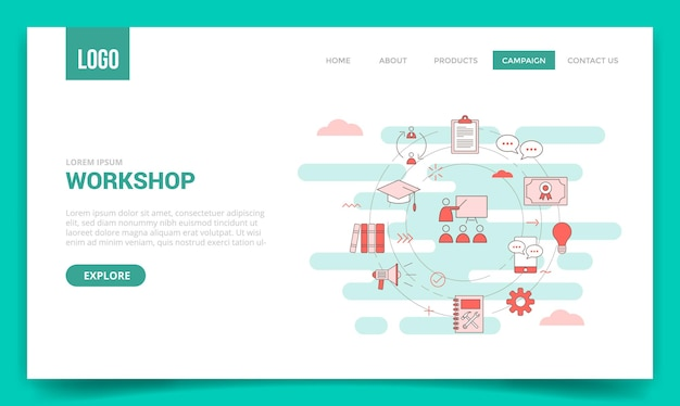 웹 사이트 템플릿 또는 방문 페이지, 홈페이지 개요 스타일에 대한 원 아이콘이있는 워크샵 개념