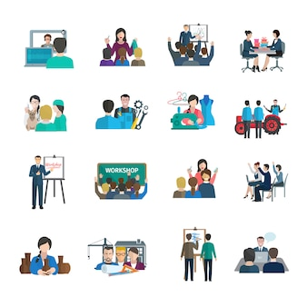 Workshop flat icons set with business leader presentation teamwork organization