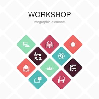 Мастерская инфографики 10 вариантов цветового дизайна. мотивация, знания, интеллект, практика простых иконок