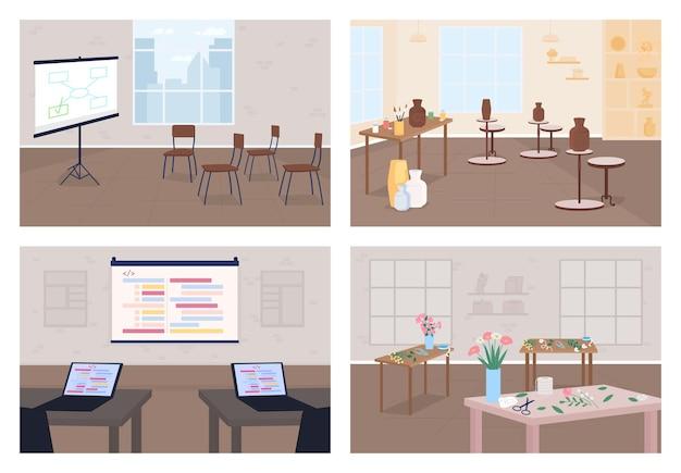Набор плоских цветных векторных иллюстраций семинаров. узнай хобби. бизнес-тренинги. гончарный класс. конференция для разработчиков. классный 2d мультяшный интерьер без людей на фоне коллекции