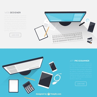 Workspace banners Free Vector