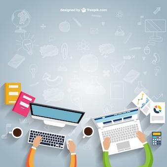 Workspace in cartoon style Premium Vector
