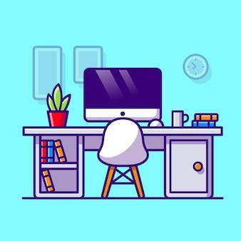 Workspace cartoon vector icon illustration. education technology icon concept isolated premium vector. flat cartoon style
