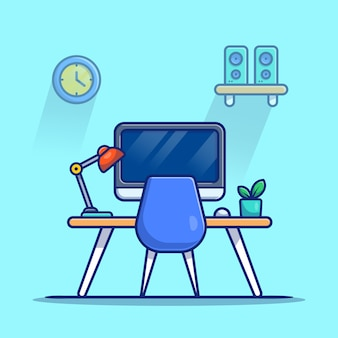 Workspace computer with lamp and plant cartoon icon illustration. workplace technology icon concept isolated premium . flat cartoon style