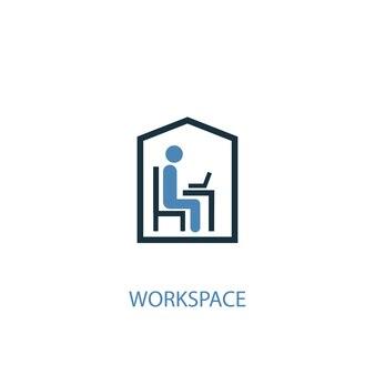 ワークスペースのコンセプト2色のアイコン。シンプルな青い要素のイラスト。ワークスペースコンセプトシンボルデザイン。 webおよびモバイルui / uxに使用できます