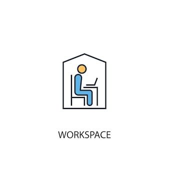 Workspace concept 2 colored line icon. simple yellow and blue element illustration. workspace concept outline symbol design