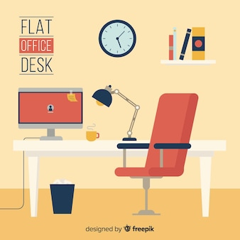 Workspace concept in flat design