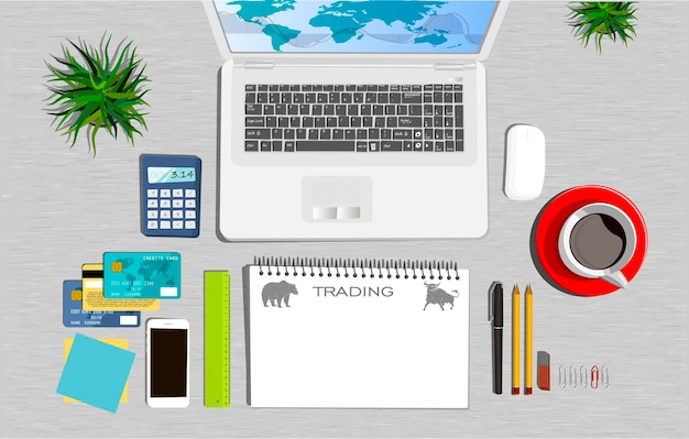 ワークスペースの概念。フラットなイラスト。ビジネスオフィス。取引