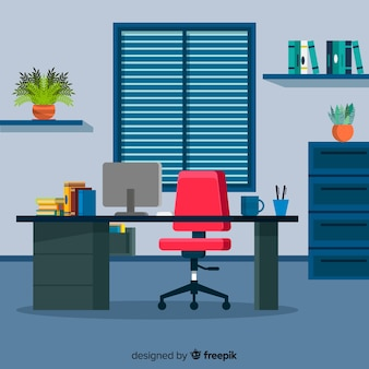 Workspace concept in flat style