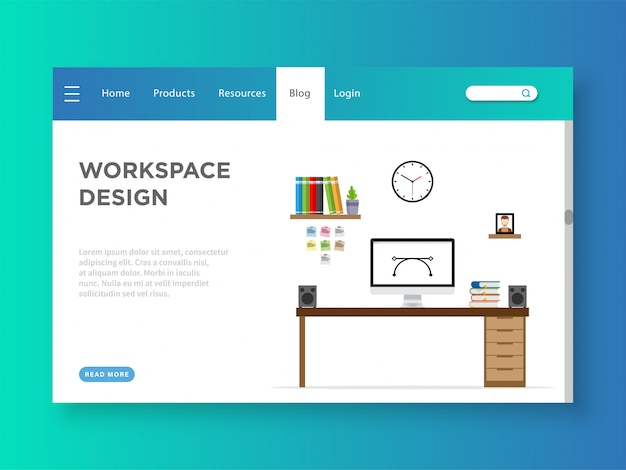 Workspace design landing page template