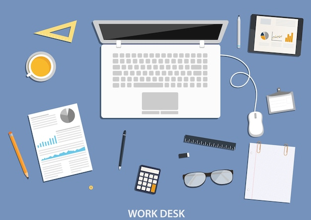 Workspace,  desktop  with business icons.