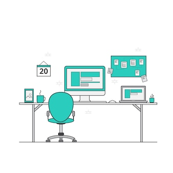 Workspace flat design