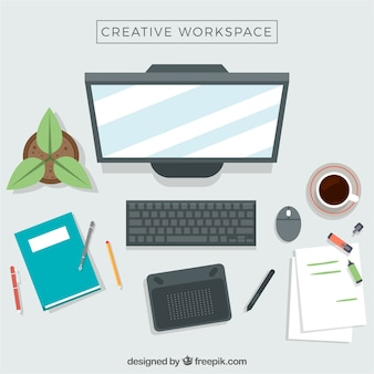 Workspace of graphic designer