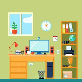 机の上のコンピューターと部屋の中のワークスペース