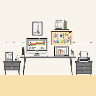 Workspace interior with office element