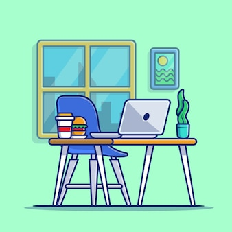 Workspace laptop with burger and plant cartoon icon illustration. workspace technology icon concept isolated premium . flat cartoon style