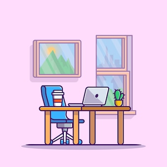 커피와 식물 만화 아이콘 일러스트와 함께 작업 영역 노트북. 직장 기술 아이콘 개념 절연 프리미엄입니다. 플랫 만화 스타일