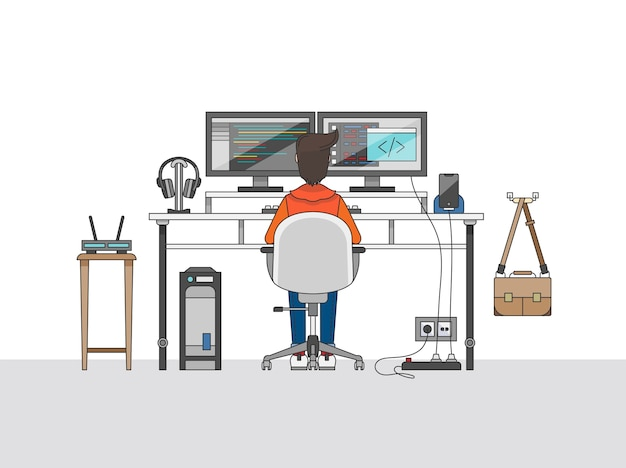 오디오 엔지니어 또는 음악 제작자의 작업 공간