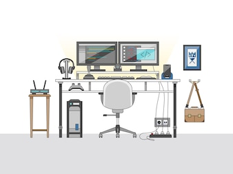 Workspace of a audio engineer or a music producer