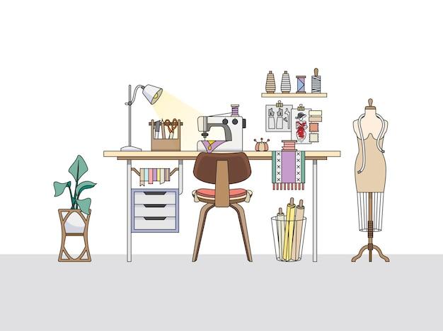 ファッションデザイナーのワークスペース、またはテーラー