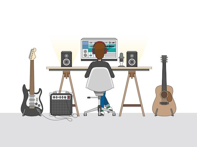 オーディオエンジニアまたは音楽プロデューサのワークスペース