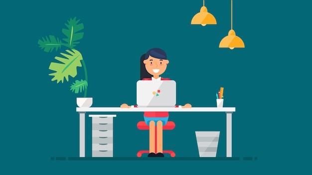 책상, 의자, 노트북 비즈니스 프로젝트 또는 시작 개념이 있는 전문 작업 개발자, 프로그래머, 시스템 관리자 또는 디자이너의 작업 공간. 직원 사무실 직장입니다. 벡터