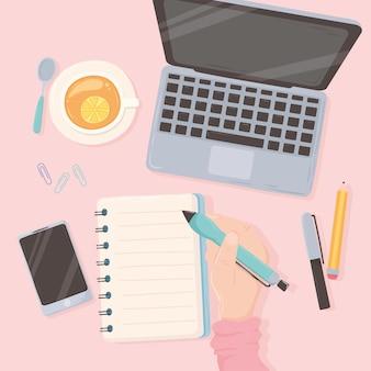 Рабочее пространство офисная рука с ручкой ноутбука бумажным телефоном и чашкой чая, дизайн вид сверху