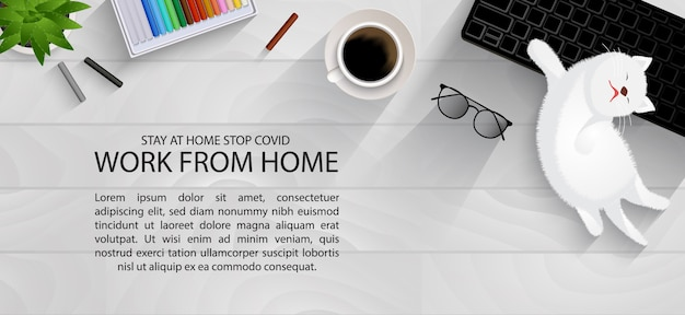 Workspace on plank table for social distancing, work from home with lovely pet concept infographic