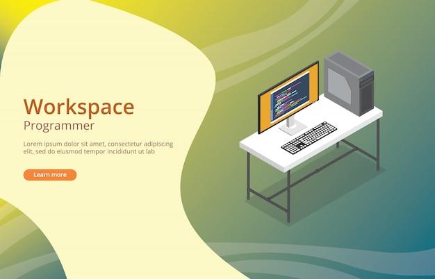 화면에 코딩이있는 작업 공간 프로그래머 또는 개발자